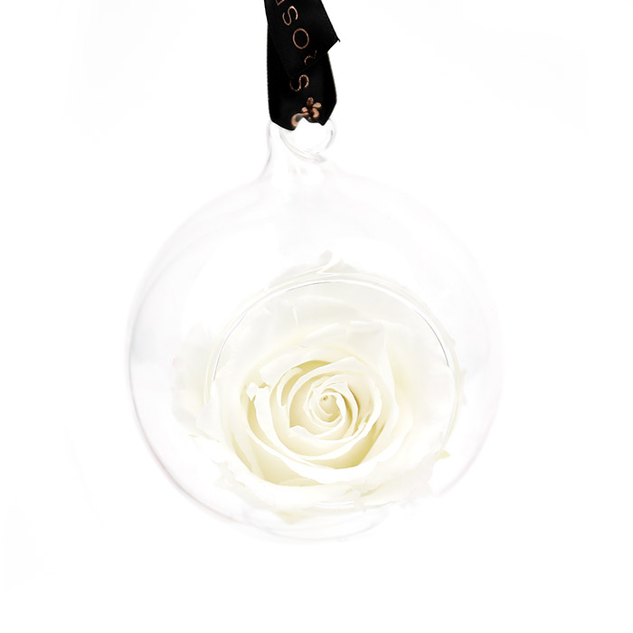 White Rose Bauble